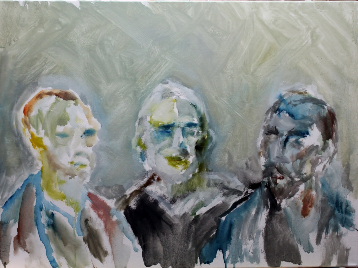 Initial study for a group portrait of Vincent van Gogh, Peter Robinson, and Paul Gauguin