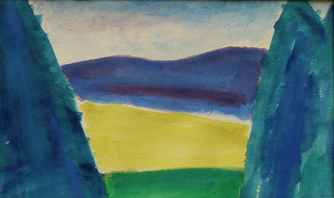 watercolour view of slieve anierin