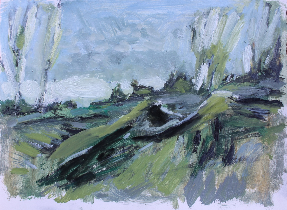 oil sketch on paper of view from kitchen window