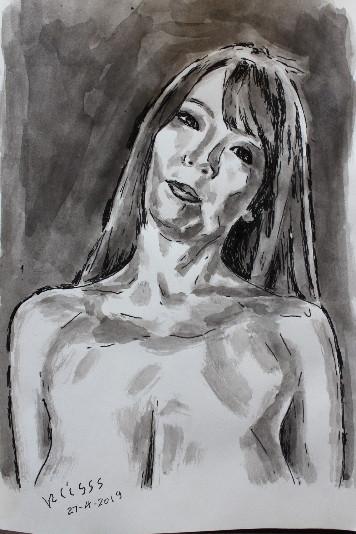 woman with head tilted