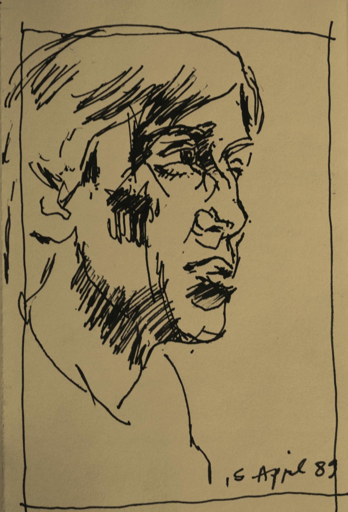 scribbled sketch of John T 1989