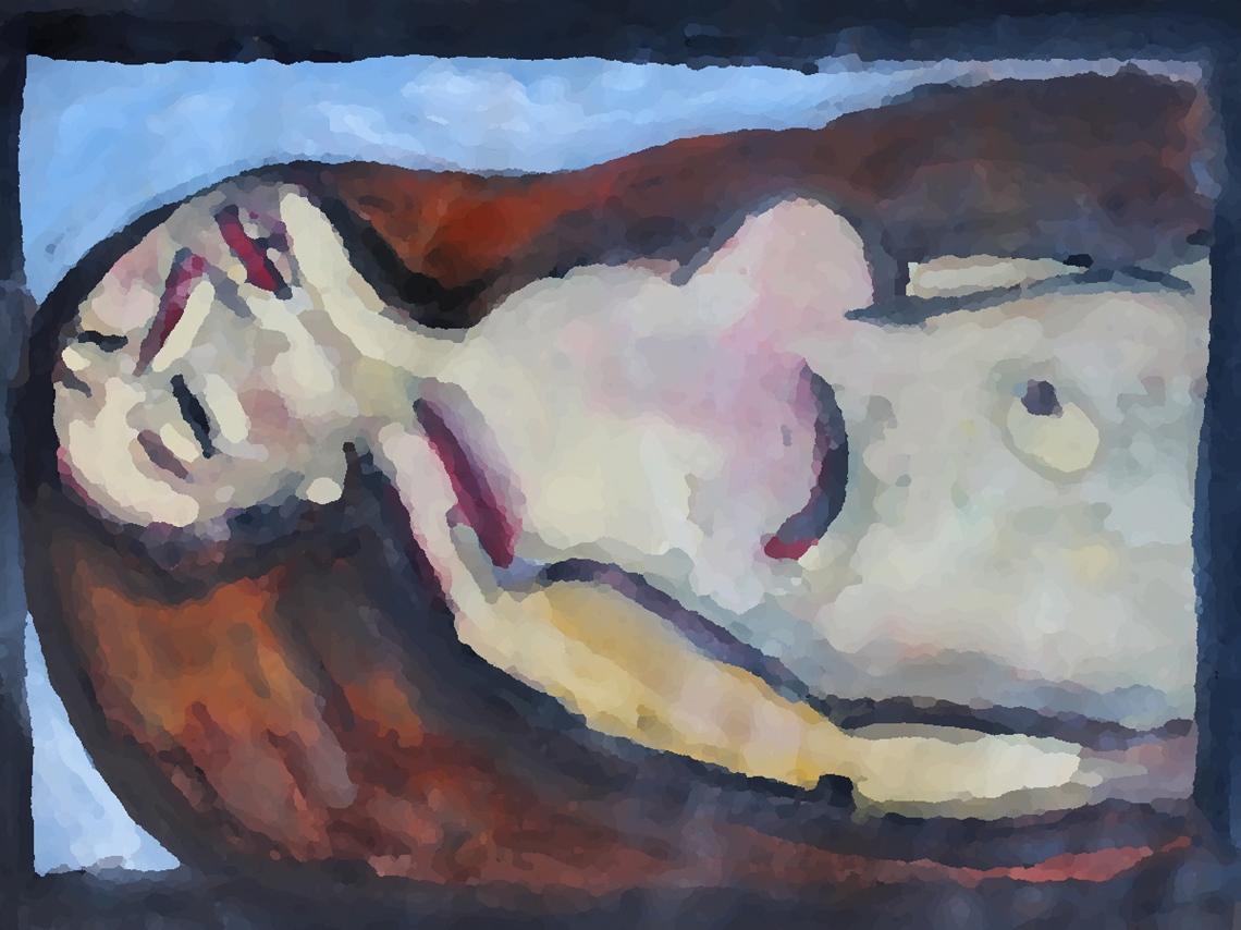woman red hair sleeping pixellated