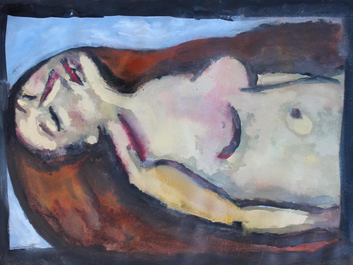 woman red hair sleeping