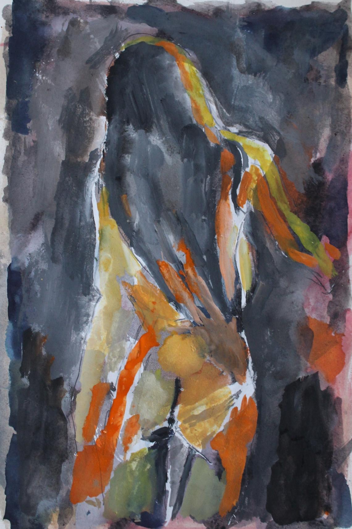 girl long hair dancing